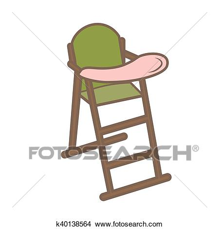 Vector illustration green baby chair for feeding. High wooden. Clipart.