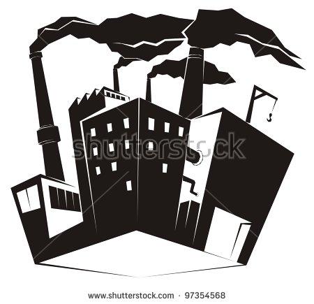 Heavy Industrial Site Factory Black Smoke Stock Vector 97088024.