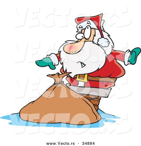 Cartoon Vector of a Santa Getting Stuck in a Chimney by Ron.