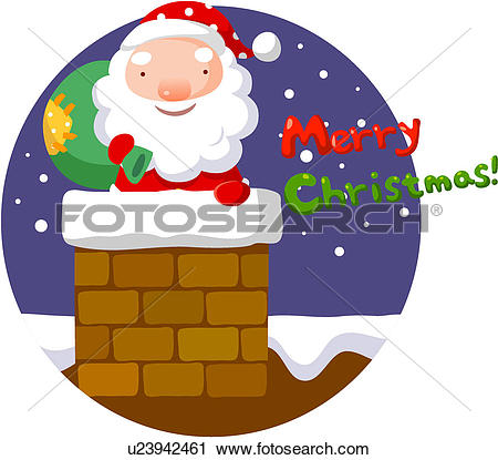 Clipart of Santa going down the chimney u23942461.