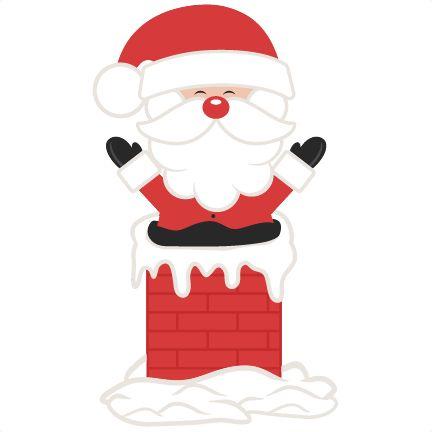 Santa In Chimney SVG scrapbook cut file cute clipart files for.