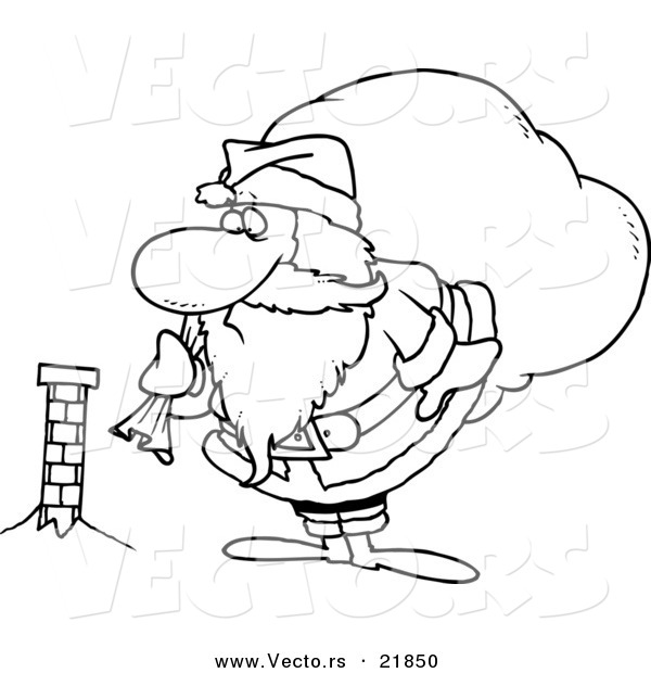 Vector of a Cartoon Black and White Outline Design of Santa.