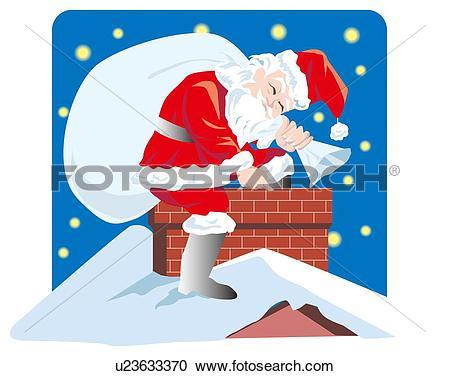 Stock Illustrations of Santa Claus by chimney u23633370.