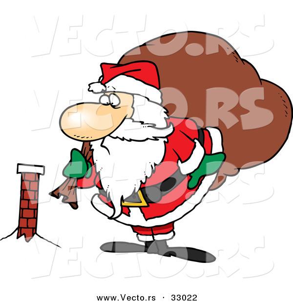Cartoon Vector of a Fat Santa Looking at Tiny Chimney by Ron.