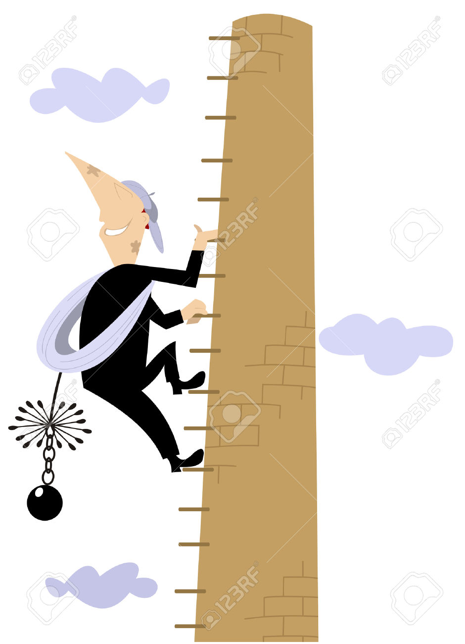 Chimney Sweeper Climbs On The High Chimney Royalty Free Cliparts.