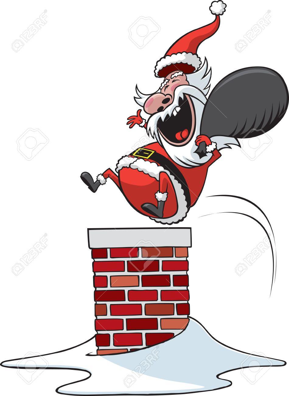 A Cartoon Santa Clause Jumping Down Chimney Vector And High.