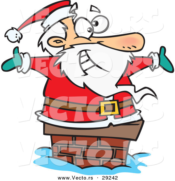 Cartoon Vector of a Happy Santa Going down a Chimney by Ron.