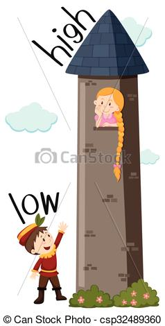 Clip Art Vector of Opposite adjective low and high illustration.