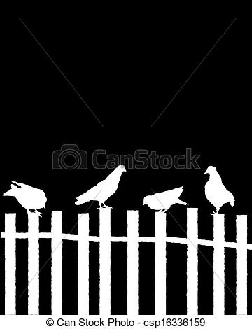 Clipart Vector of Pigeons on a fence.