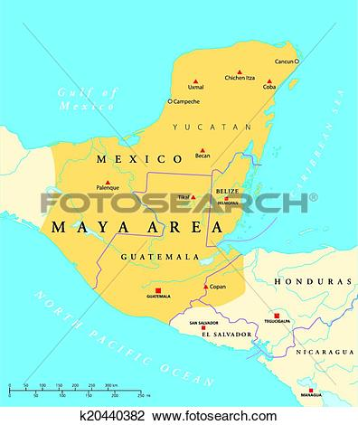 Clipart of Maya High Culture Area Map k20440382.