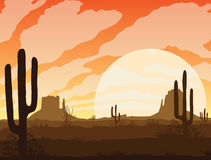 High Desert Cactus Mountains Clouds Stock Illustrations.