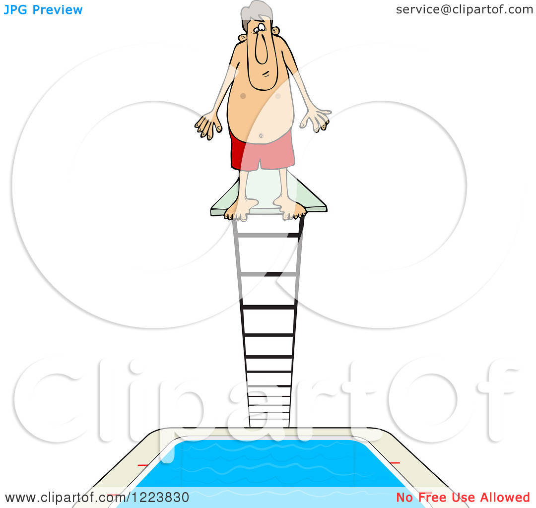 Clipart of a Man Standing at the Top of a High Dive Diving Board.