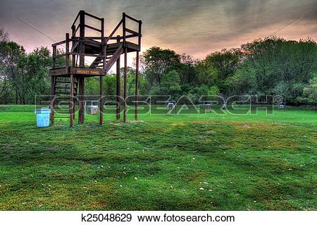 Stock Photograph of Field archery range in a park in high dynamic.