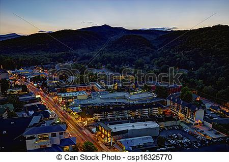 Picture of High Dynamic Range image of downtown Gatlinburg.