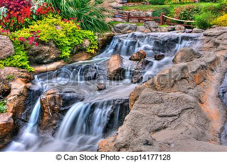Stock Photo of Silky Waterfall in High Dynamic Range.