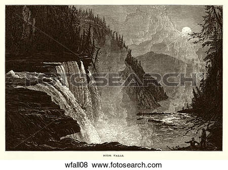 Stock Illustration of Nineteenth Century Wood Engraving of a View.