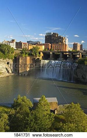 Stock Photography of High Falls, Rochester, New York State, USA.