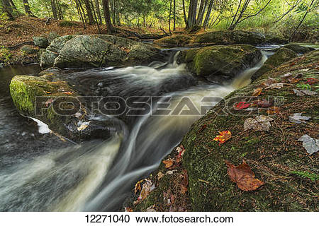Stock Photography of The top of Little High Falls in autumn, near.