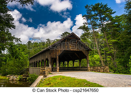 Stock Images of The covered bridge above High Falls, in Dupont.