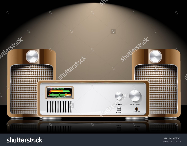 Retro Vector High Fidelity Sound System Stock Vector 89889067.
