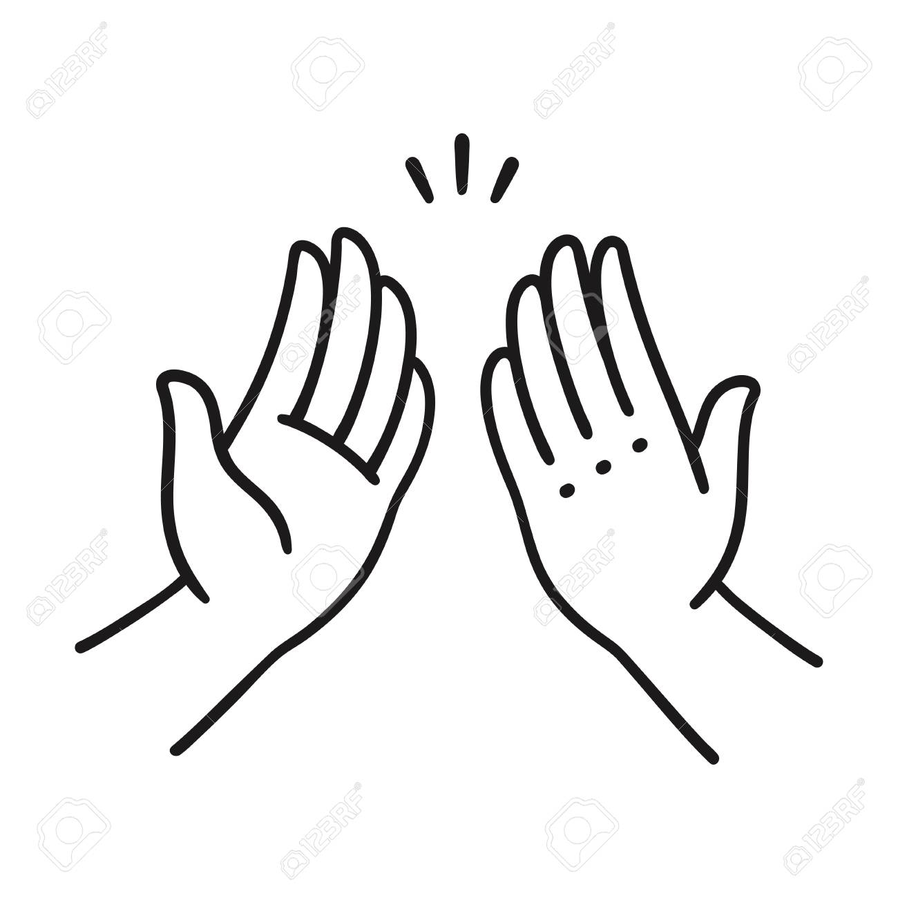 Sep of two hands clapping in high five gesture. Simple cartoon...