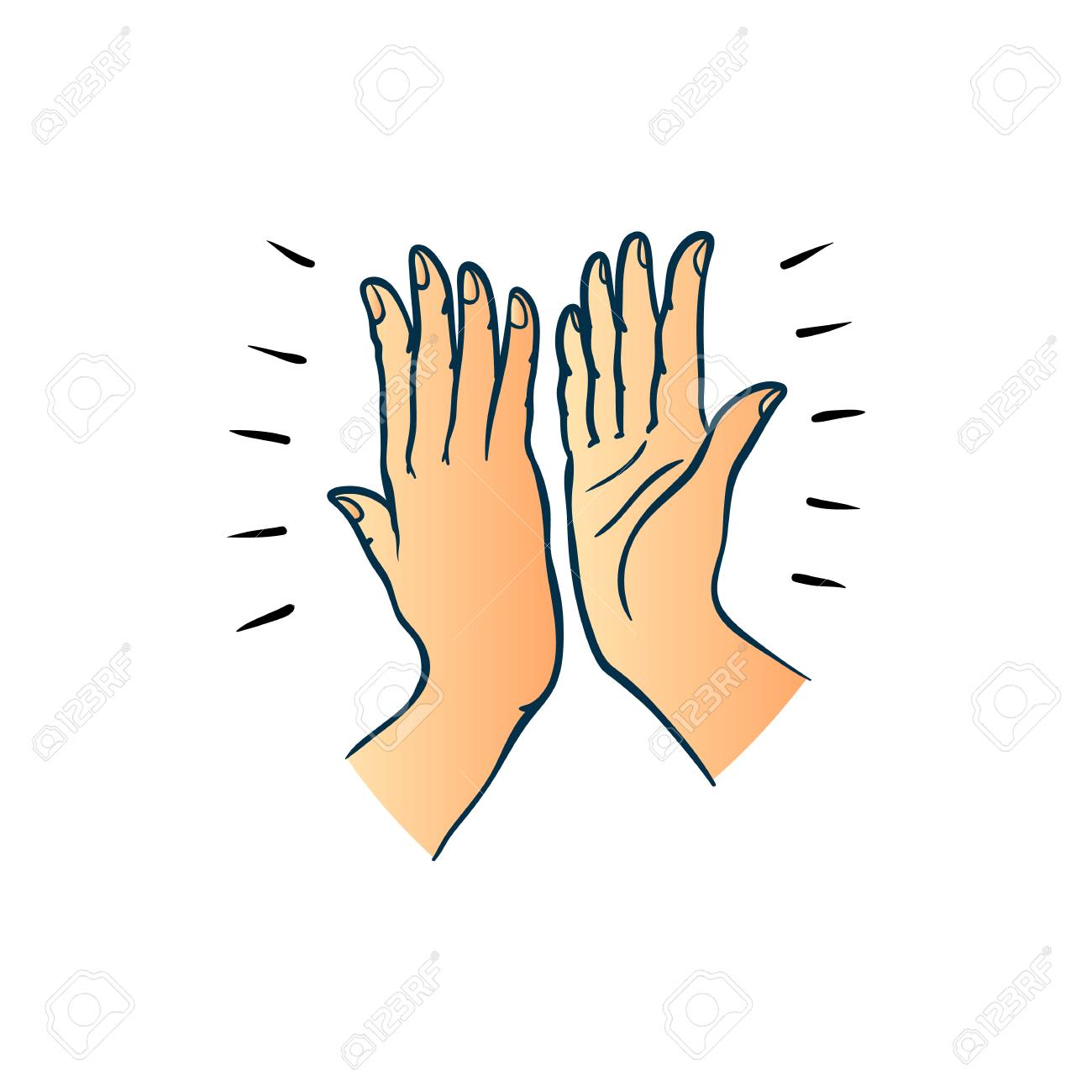 Hand gesture of two people giving each other high five in sketch...