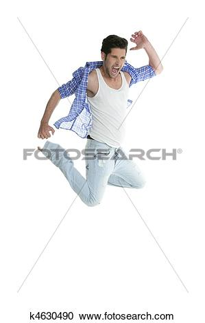 Stock Photography of High fly man jumping denim fashion jeans on.