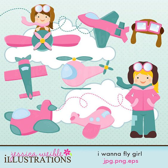 I Wanna Fly Girl Version Cute Digital Clipart, Commercial Use Clip.