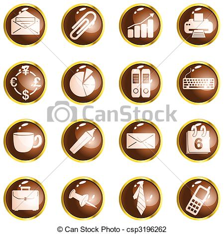 Vector Illustration of Round brown high gloss office buttons.