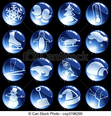Vector Clipart of Sixteen high gloss winter themed buttons.