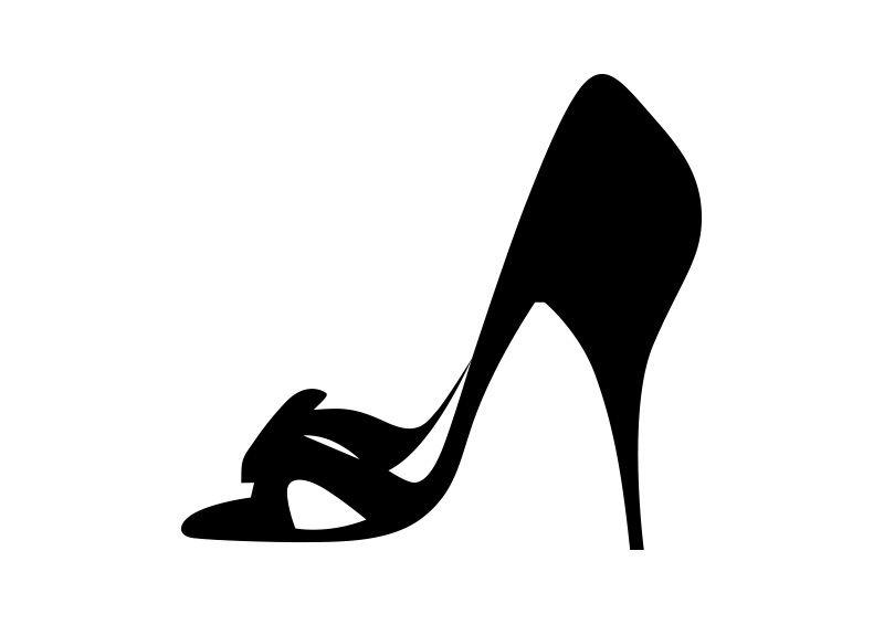High Heel Shoe Vector Silhouette.