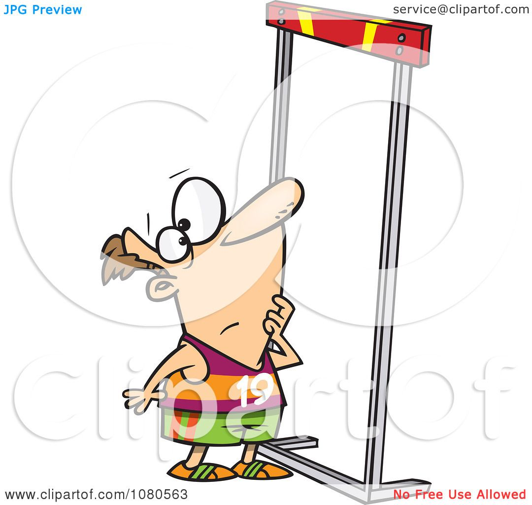 Clipart Male Runner Looking Up At A High Hurdle.
