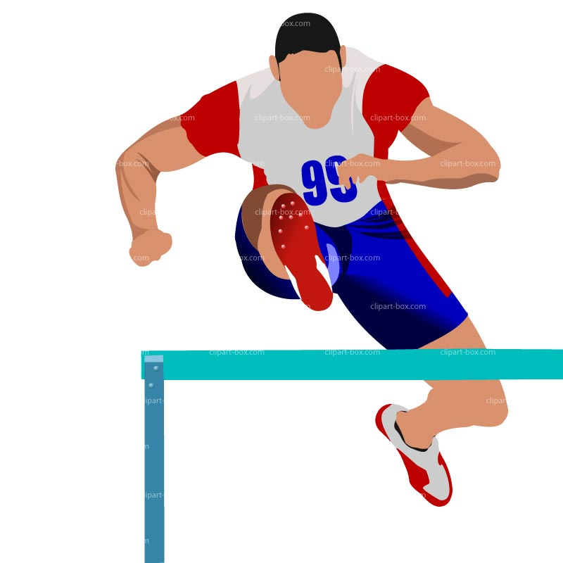 Running A Race With Hurdles Clipart.