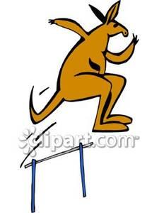 Kangaroo Jumping a Hurdle.