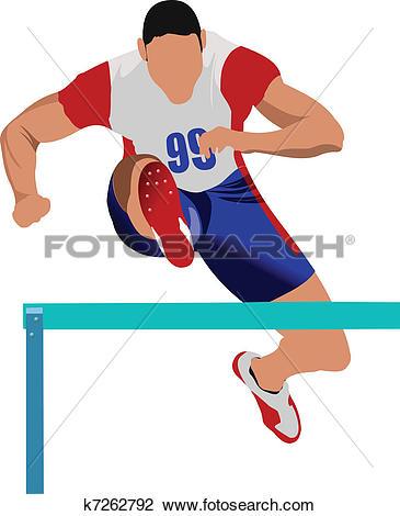 Clipart of Woman running hurdles. Vector illus k7262792.