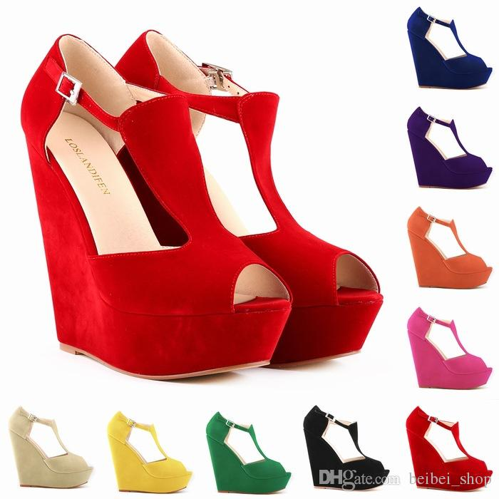 Loslandifen Fashion Summer Women Shoes Peep Toe Flock Platform.