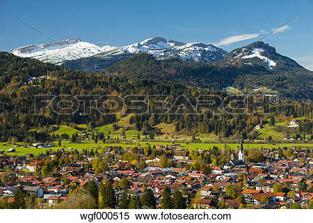 Stock Image of Germany, Bavaria, Allgaeu, View to Oberstdorf, in.