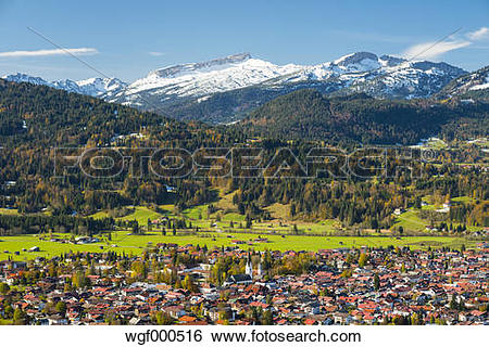 Stock Images of Germany, Bavaria, Allgaeu, View to Oberstdorf, in.