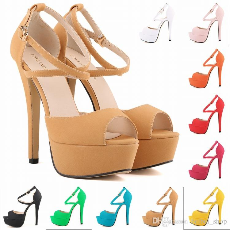 Loslandifen Women Pumps Peep Toe Bridal Shoes Super High Heels.