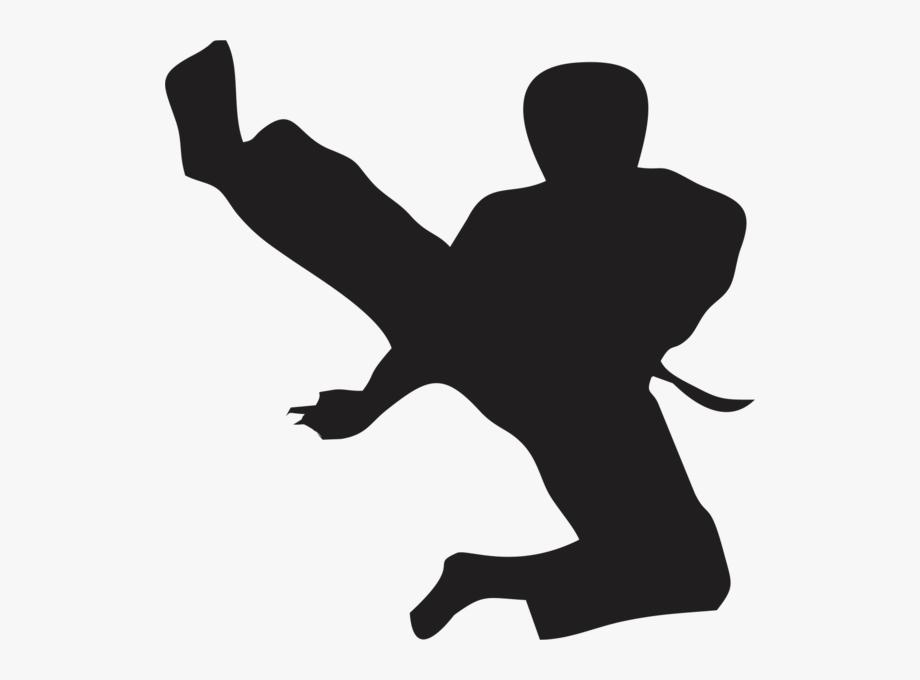 Silhouette High Kick Karate , Transparent Cartoon, Free.