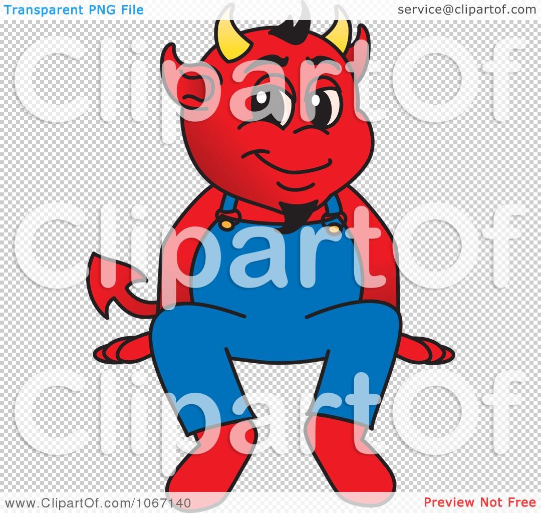 Clipart Devil Mascot Sitting On A Ledge.