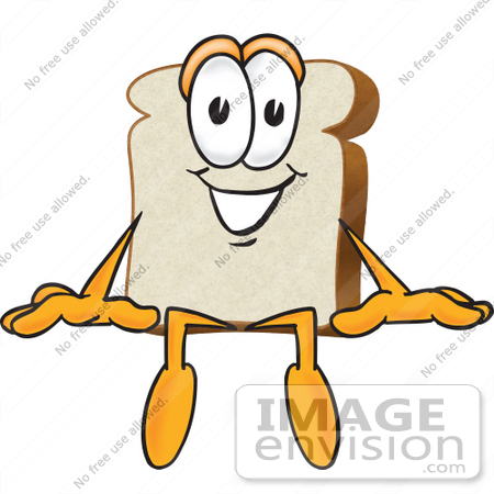 Clip Art Graphic of a White Bread Slice Mascot Character Sitting.