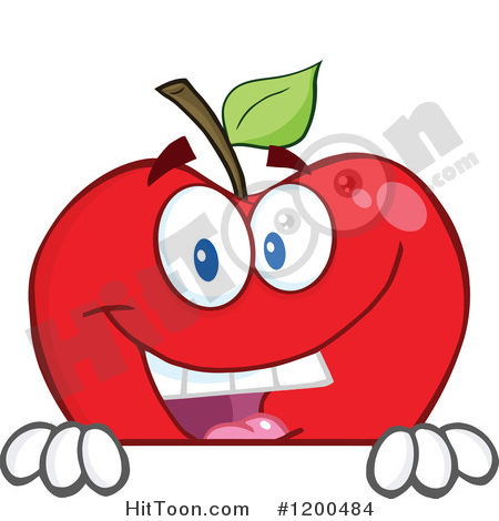 Apple Clipart #1200484: Smiling Red Apple over a Sign or Ledge by.