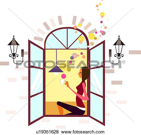 Stock Illustration of Woman sitting on ledge of window and holding.