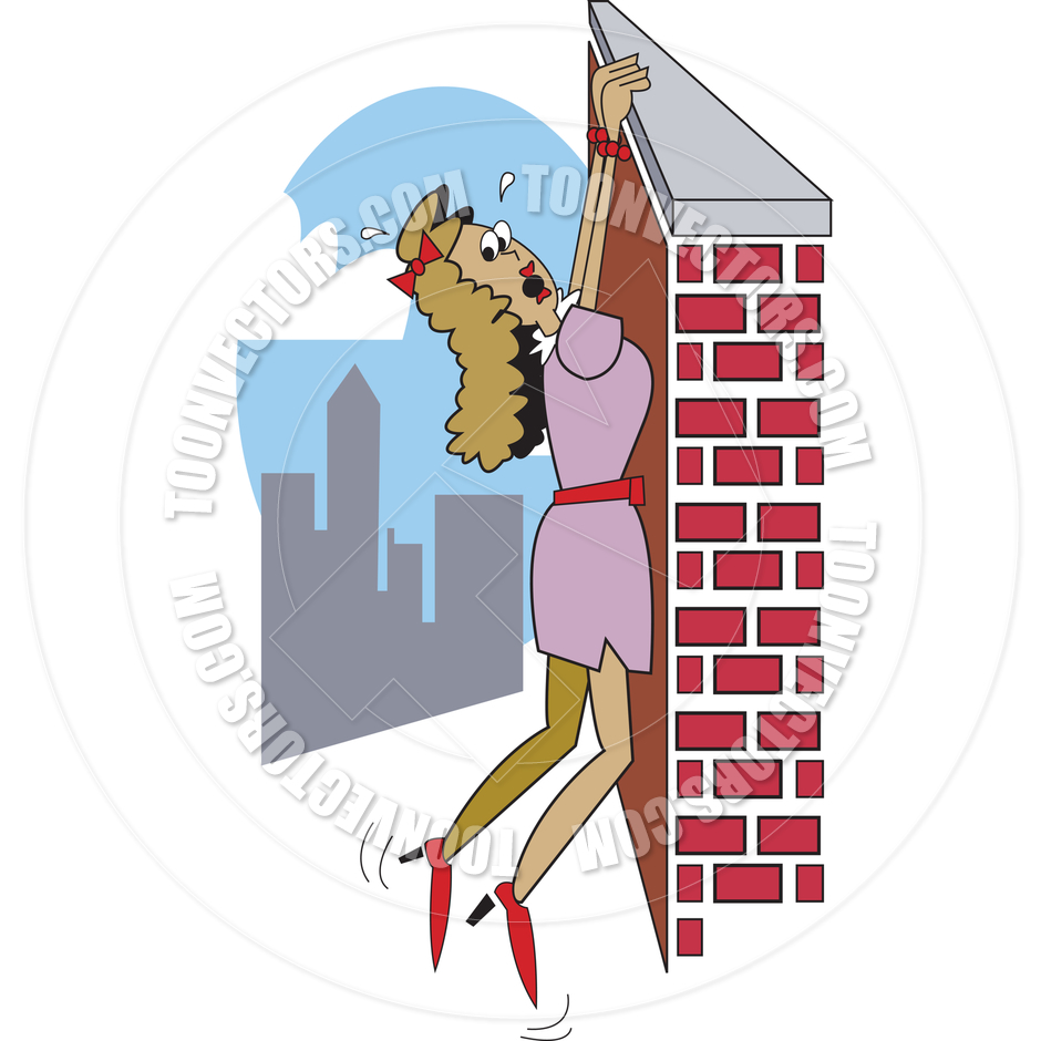 Cartoon Woman Hanging on Ledge Vector Illustration by Clip Art Guy.