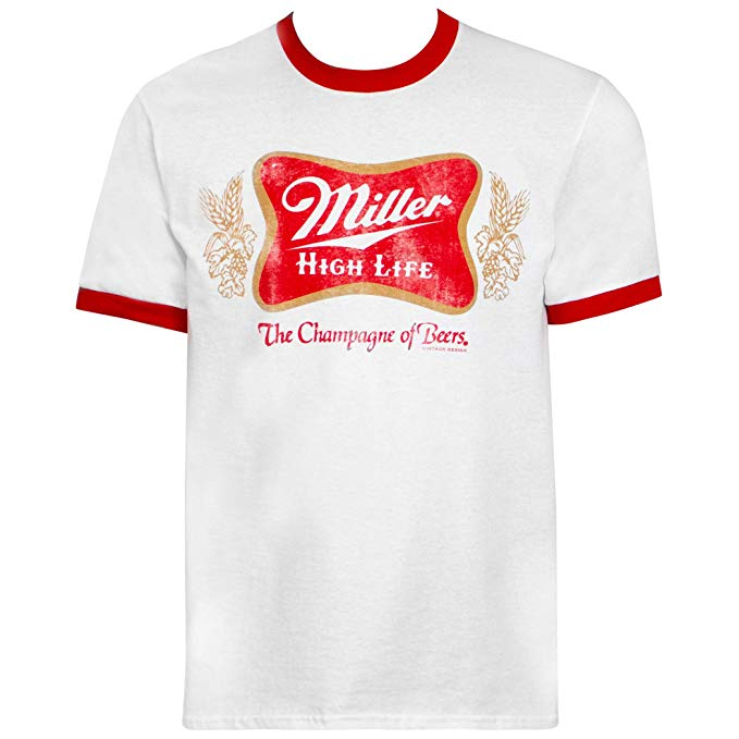 Miller High Life Logo and Red Ringer Tee Shirt.