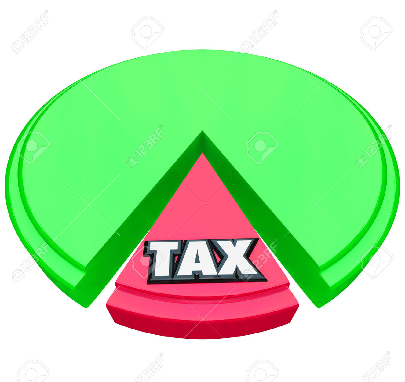 Tax Word On A Pie Chart To Illustrate The High Percentage Or.