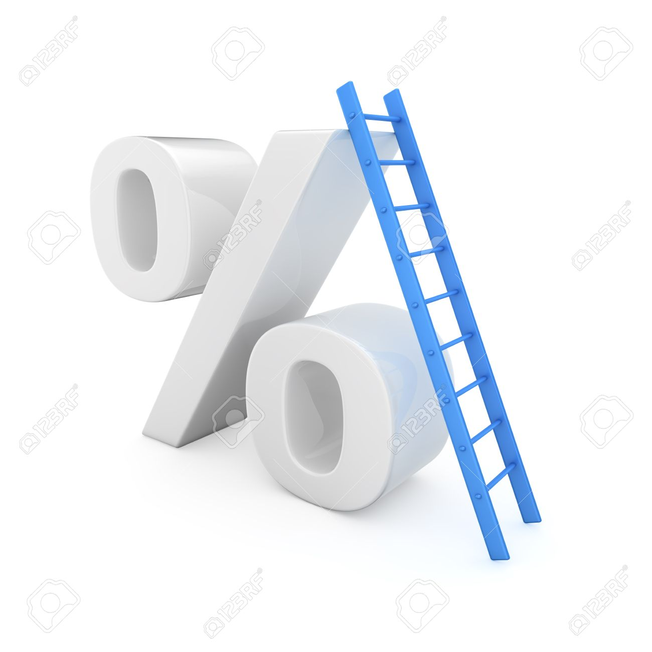 Blue Ladder On The High Percentage Symbol Stock Photo, Picture And.