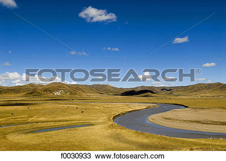 Stock Photo of China, Sichuan, south of Hongyuan, landscape of.