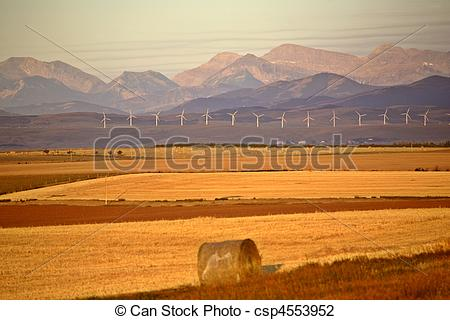 Stock Photo of High Plains of Alberta with Rocky Mountains in.